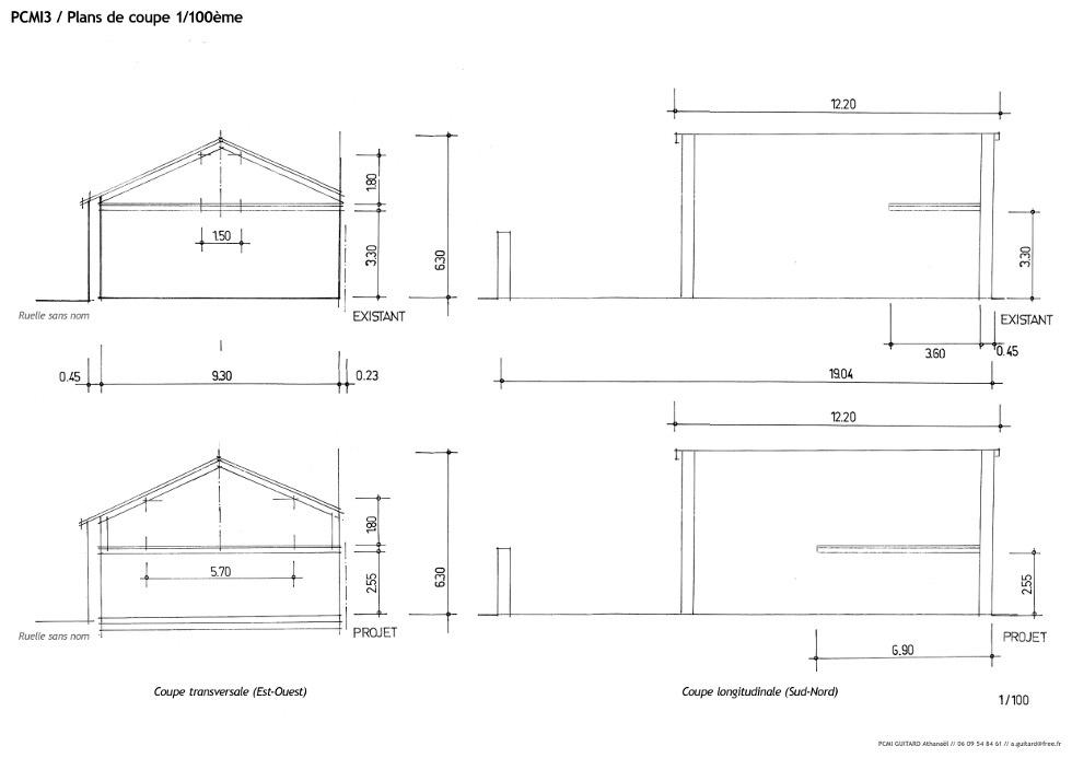 Dossier de demande de permis de construire la grange loft d 39 athayuyu - Plan en coupe permis de construire ...