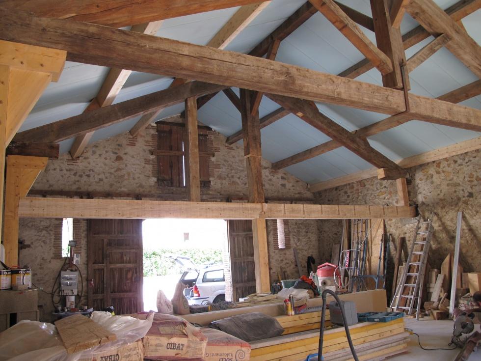 Semaine 24 arches charpente et premi res cloisons la grange loft d 39 a - Renovation grange loft ...